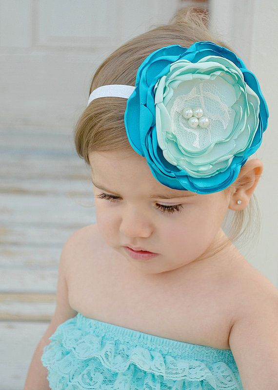 Baby Girl Headband  Baby Headband  Aqua by LittlePearlBoutique, $15.00