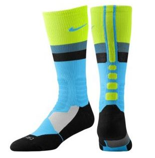 blue, black and green Nike socks