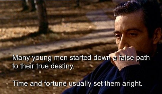 Michael Corleone: I feel ... I'm getting wiser now. Kay Corleone: The sicker you get, the wiser you get, huh? Michael Corleone: When I'm dead, I'm gonna be really smart. http://www.shortlist.com/entertainment/films/20-pieces-of-wisdom-from-the-godfather-trilogy#item-13