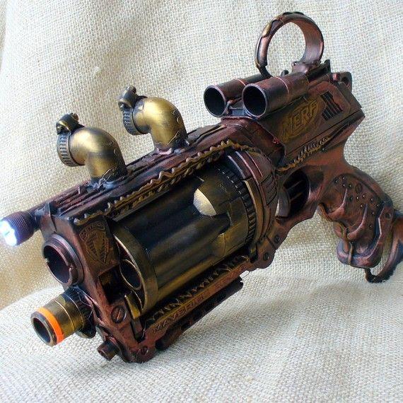 #Steampunk Gun Nerf Maverick N-Strike Victorian Gothic