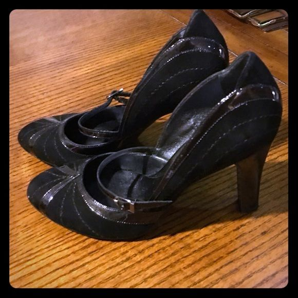 """Vintage Black Leather Heels by Cole Haan Vintage Black Suede and Patent Leather Heels by Cole Haan.  Size 7.5 Heel is """"4.  Brand new - never seen a foot in its life!  Purchased at Cole Haan store in New York 2002.  Gorgeous! Cole Haan Shoes Heels"""