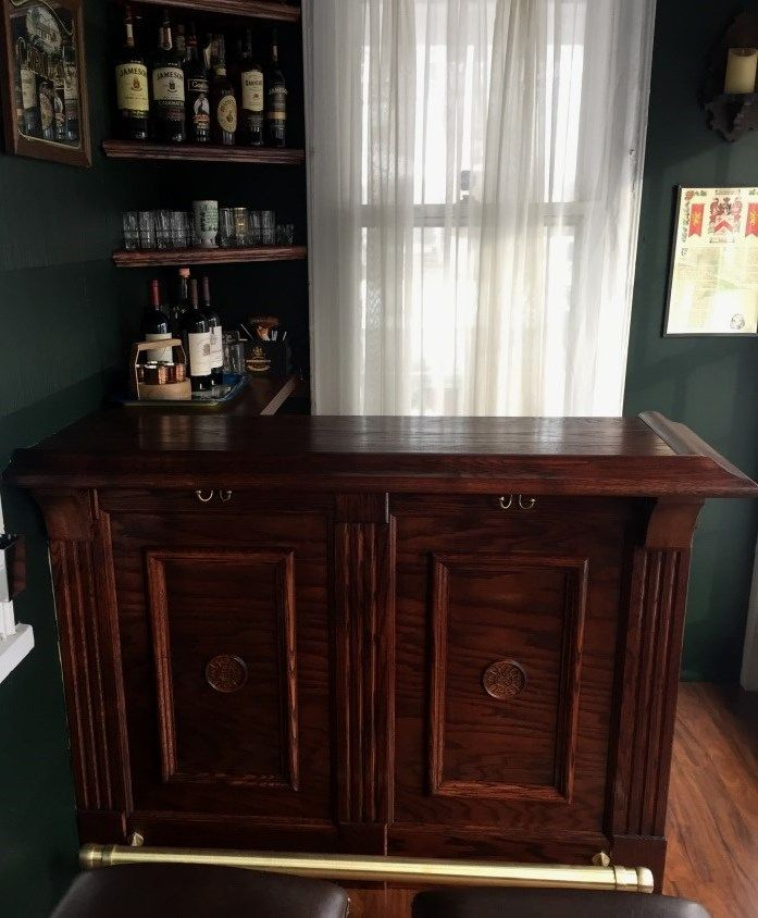 Pictured Is A Cozy Little Home Bar Featuring Our Traditional Wood Armrest Moldings And Front Trim In Red Oak