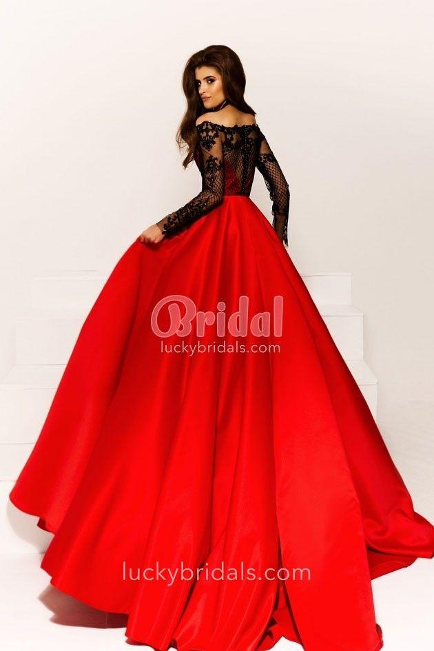 Off Shoulder Long Sleeve Black Lace Top Red Ball Gown Black Lace Top Long Sleeve Gowns Red Top Black Skirt
