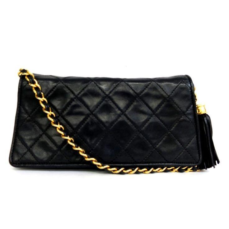 【中古】CHANEL(シャネル) マトラッセ チェーン ショルダー バッグ フリンジ付 ラムスキン ブラック ゴールド金具/フリンジも付いていてとってもキュートです。コンパクトサイズで、ちょっとしたお出掛けやお呼ばれにもピッタリ。/新品同様・極美品・美品の中古ブランド財布&小物を格安で提供いたします。