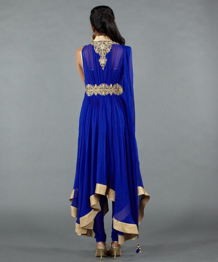 royal blue and gold anarkali salwar kameez - Taban and Kanwal