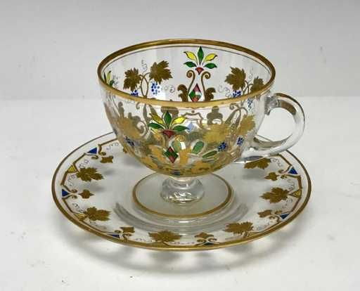 Lot: 19TH C. ENAMELLED MOSER CUP AND SAUCER, Lot Number: 0386, Starting Bid: $100, Auctioneer: Louvre Antique Auction, Auction: CHRISTMAS ANTIQUE AUCTION, Date: December 17th, 2017 EST