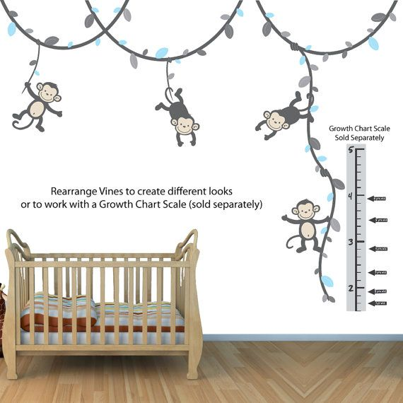 Growth Chart Monkey Wall Decals for Kids by NurseryDecalsNMore