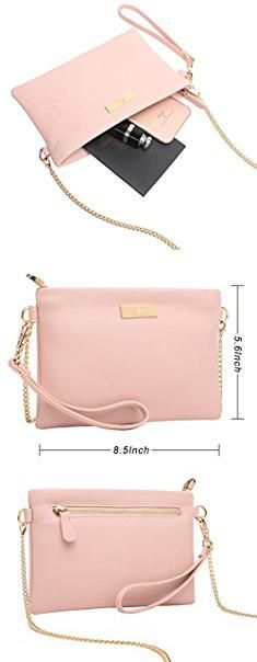 Pink Clutch Bag. Aitbags Soft PU Leather Wristlet Clutch Crossbody Bag with Chain Strap Cell Phone Purse.  #pink #clutch #bag #pinkclutch #clutchbag
