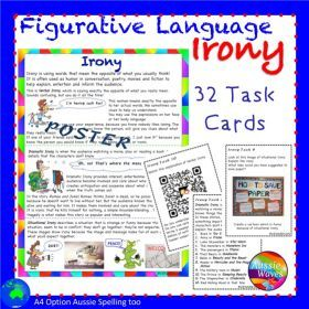 Grade / Year Level :: Primary Education :: Year 3 :: Figurative Language IRONY UNIT Poster and Task Cards