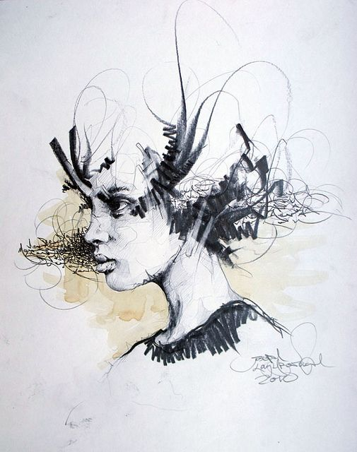 Joseph Loughborough drawing - a portrait done with calligraphy strokes! So clever, not to mention skillful!