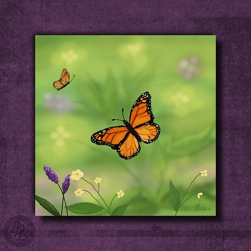 """""""Let nad loukou - Reprodukce"""" (""""Flight over meadow - Reproduction""""); 25 x 25cm (9.84"""" x 9.84""""); mounted on a board 