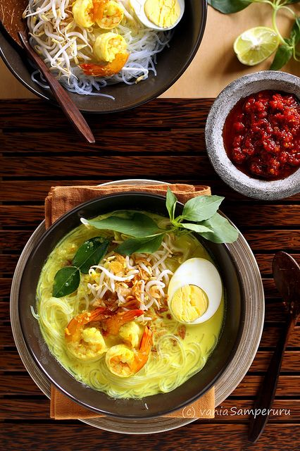 Indonesian laksa , laksa is kind of thick yellow coconut milk based soup