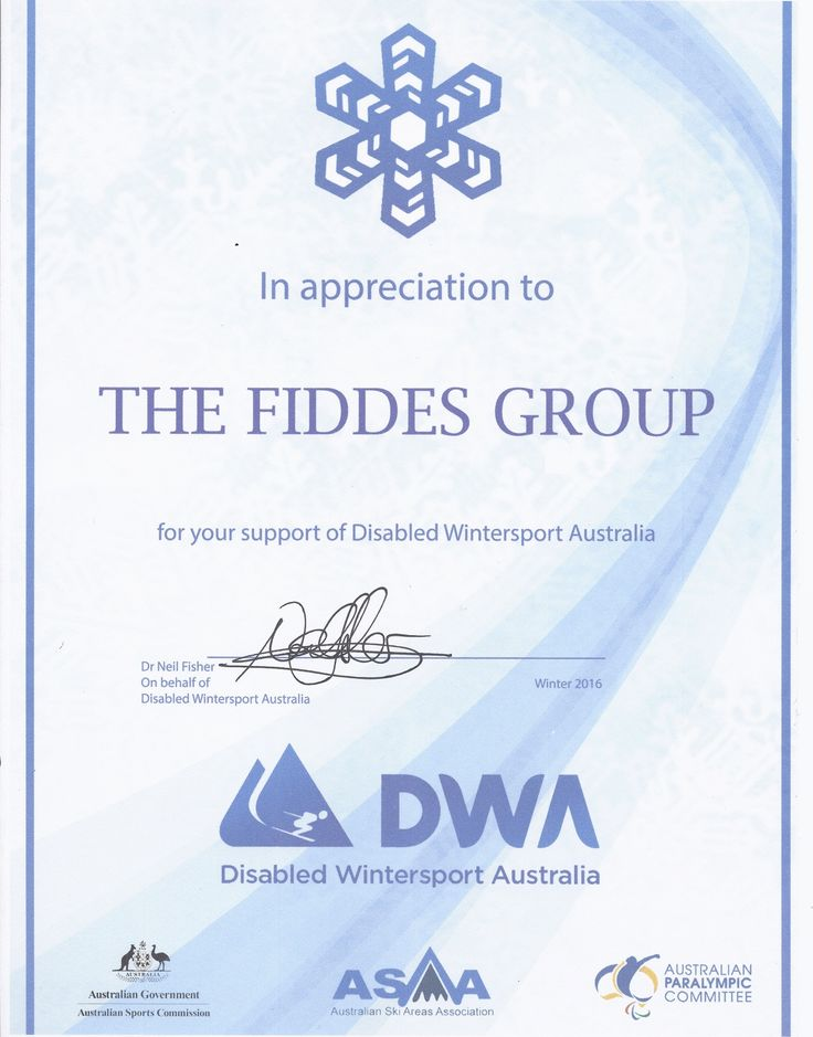 Certificate of Appreciation -Disabled Winter Sports Australia. Lovely to meet you Neil!