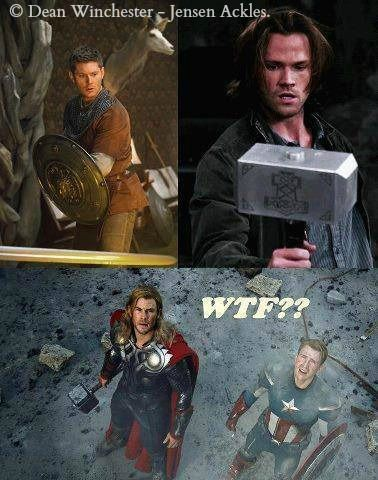 Dean & Sam vs Cap & Thor<<well, Jensen was originally casted as Captain America and Jared was also originally casted as Thor, but they chose Supernatural over Marvel..