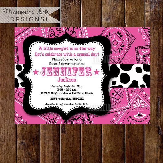 Western Cowgirl Pink Bandana Baby Shower Invitation  by MommiesInk