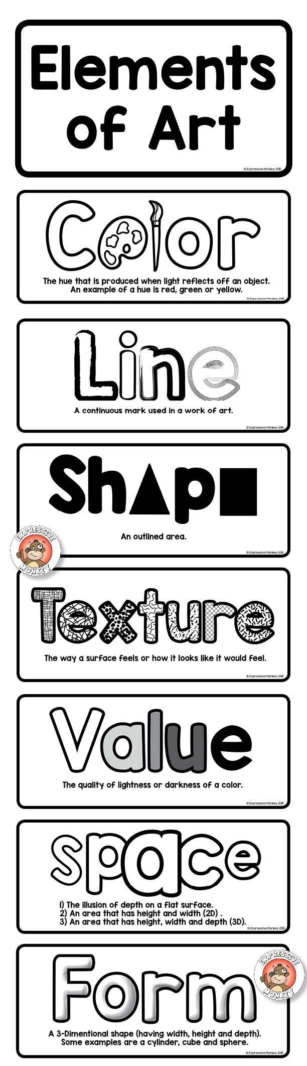 Elements of Art Definition Cards - Printable Sheets -