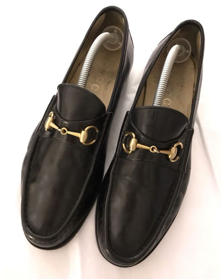 Gucci Men Loafers Shoes Classy Horse bit Black Gold Hardware Leather Sz US 12.5    eBay