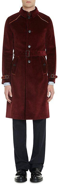 Prada Men's Cotton Corduroy Belted Trench Coat