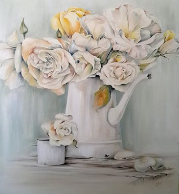 Roses  Oil on canvas 1m x 90cm Painted in November 2014