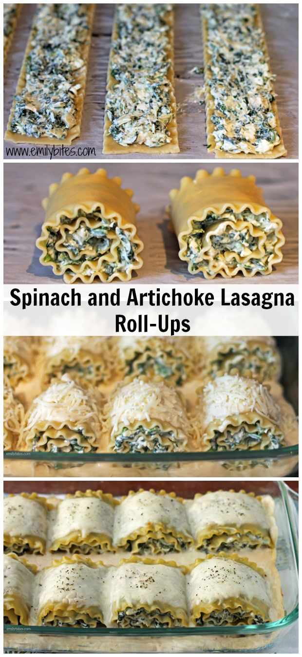 Spinach and Artichoke Lasagna Roll-Ups  - so cheesy and decadent, you'll never believe they're light! Just 272 calories or 9 Weight Watchers SmartPoints! www.emilybites.com