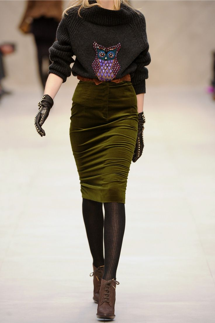 Burberry Prorsum | Velvet pencil skirt | NET-A-PORTER.COM