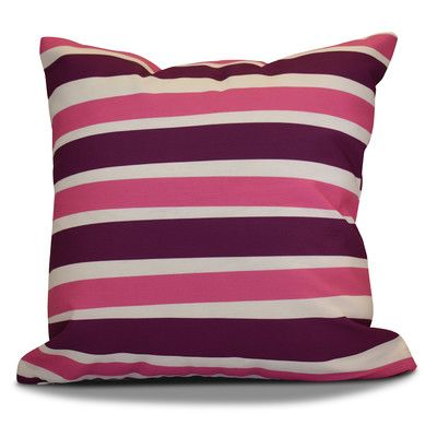 "The Holiday Aisle Hanukkah 2016 Decorative Holiday Striped Outdoor Throw Pillow Size: 16"" H x 16"" W x 2"" D, Color: Purple"