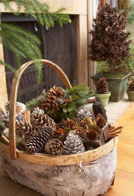 Love This With The Birch Bark Basket Pine Cone Craft Ideas