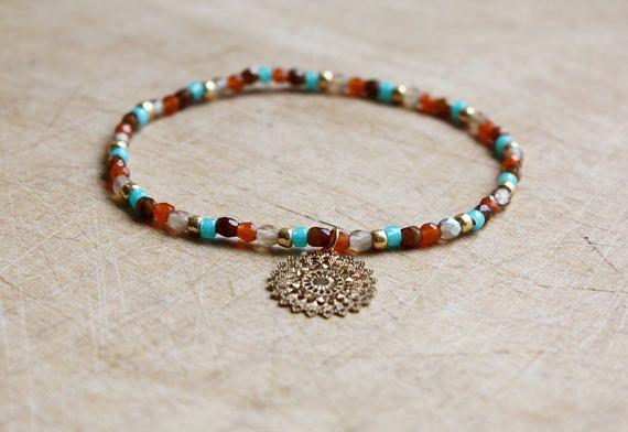 Karamel, armband Turquoise groen & Gouden Mandala - Boheemse juwelen - Boho sieraden - zomer accessoires
