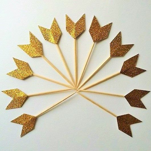 Gold Tribal Pow Wow Party Chevron Cupcake Toppers -Gold Cupcake- Aztec Party Arrow Tail Gold Glitter - Golden Birthday, Boho Woodland Baby
