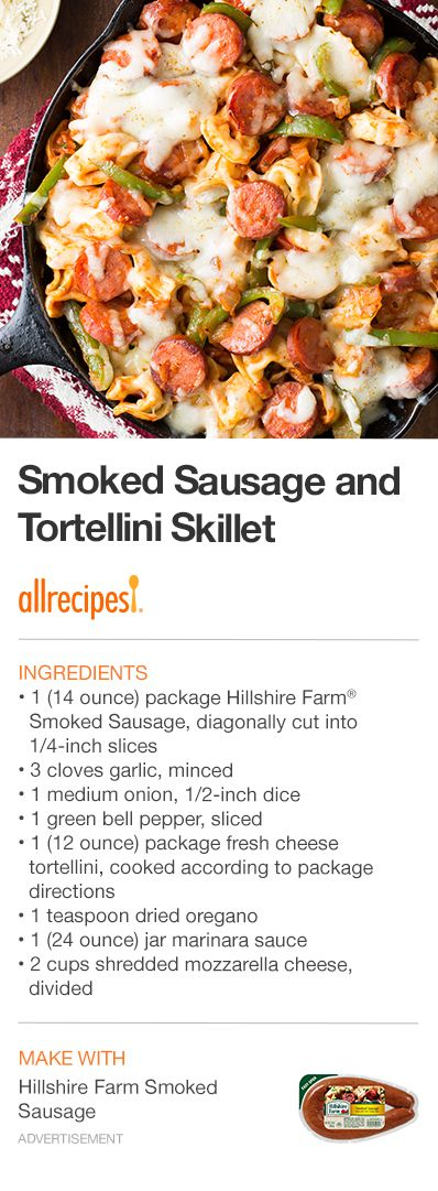 """Smoked Sausage and Tortellini Skillet 