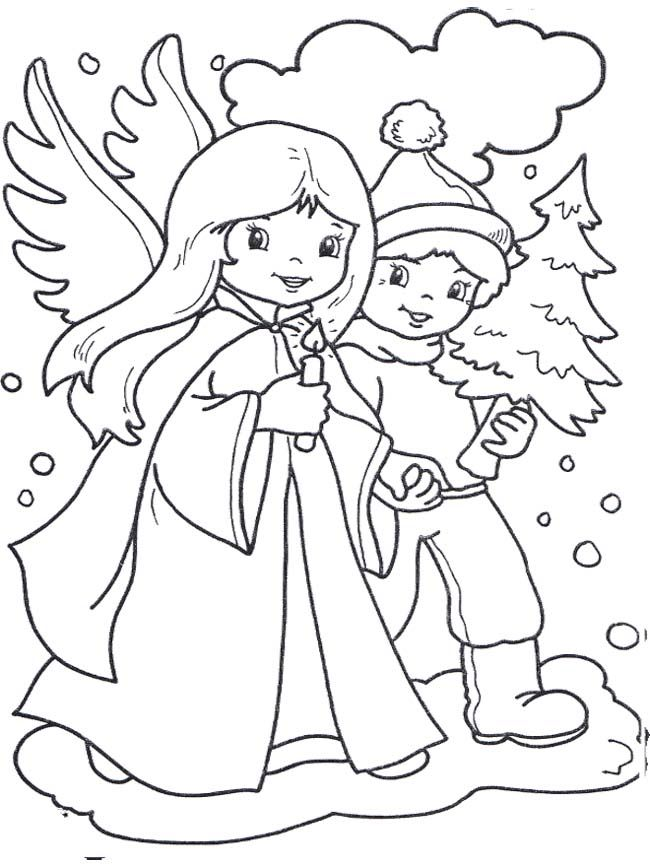 Christmas Angel And Boy Coloring Page