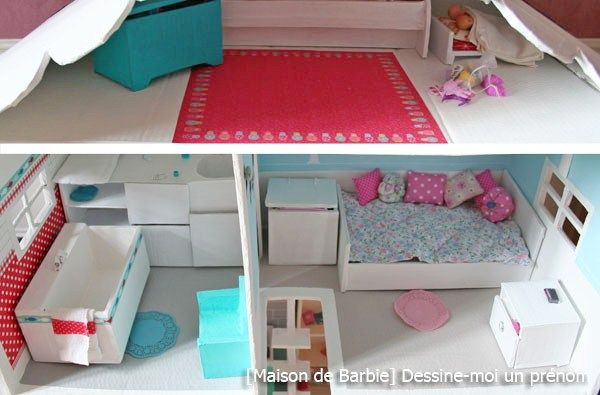 diy tutoriel fabriquer une maison de barbie maisons de poup es pinterest barbie et bricolage. Black Bedroom Furniture Sets. Home Design Ideas