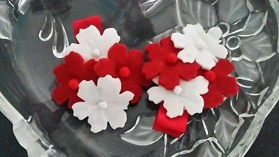 Girls felt flower hair clips x2 , alligator clips, hair accessories