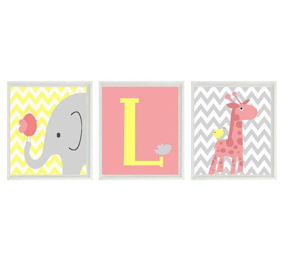 Elephant Giraffe Bird Chevron Nursery Wall Art Print - Pink Yellow Gray Decor Initial - Custom Baby - Wall Art Home Decor Set 3 8x10 Prints
