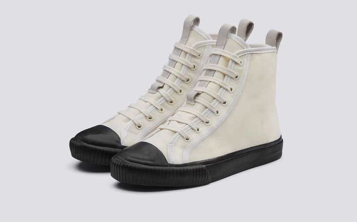 Hi Top | Womens Sneaker in Ecru Canvas with Black Rubber Sole | Grenson Shoes - Three Quarter View