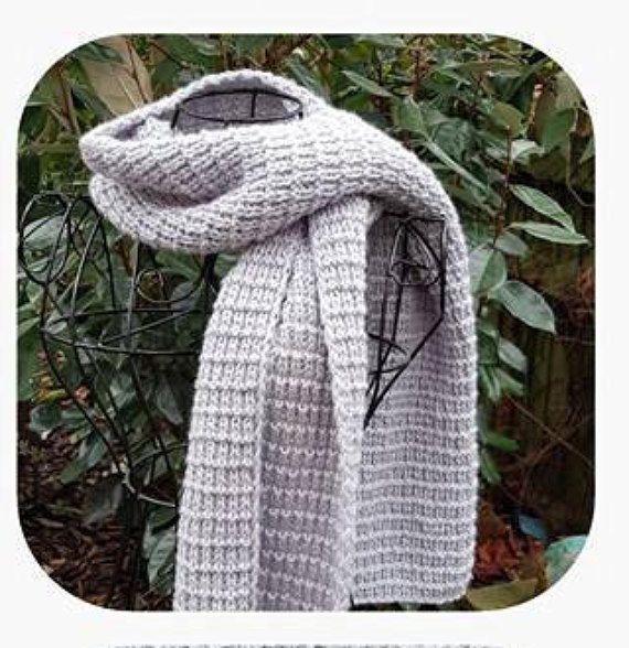 Knitted Grey Scarf Long Wide Silver Winter Accessory Handmade #fashion #style #menswear #women #etsy #ahsknits