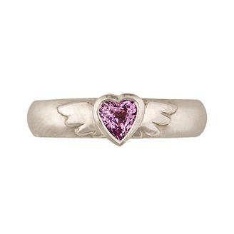 Classic winged heart 4.5mm ring with 4.5mm heart shaped pink sapphire in 18ct white gold by Sophie Harley.