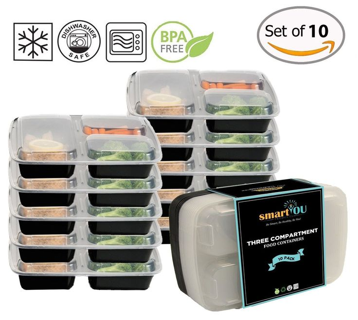 3-Compartment Bento Lunch Box / Sturdy Plastic Food Containers (Set of 10) wi...