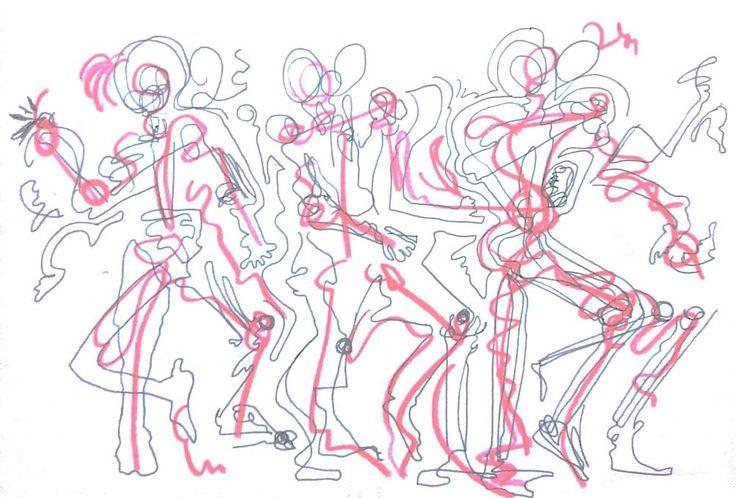 미친듯이 몸을 움직이는 사람들. 어느 다큐멘터리의 원시 부족들의 의식 중 일부.춤인것 같기도 하고 주문인것 같기도 하다.