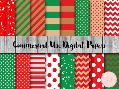 DP130 Christmas Digital Papers, Santa, Xmas, Instant Download