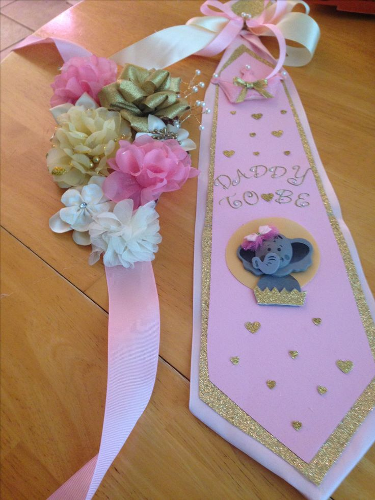 Baby shower sash and tie (gold & pink)