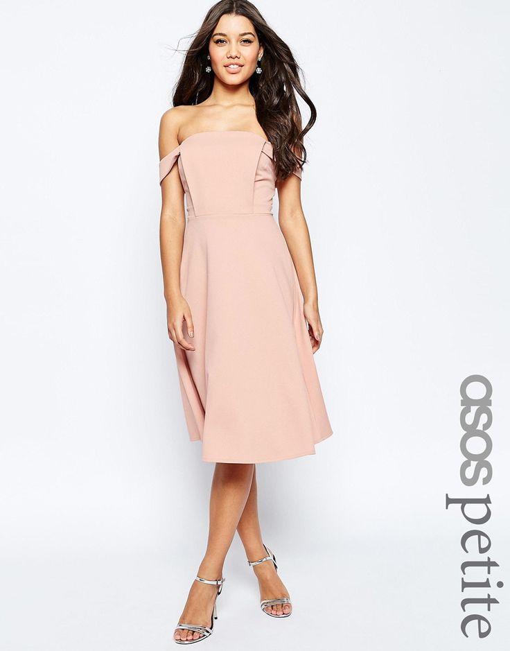 ASOS PETITE Midi Dress with Tab Shoulder and Full Skirt