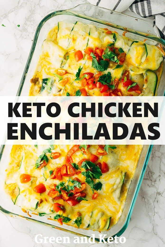 These keto green chile chicken enchiladas are creamy, cheesy, and so flavorful! …