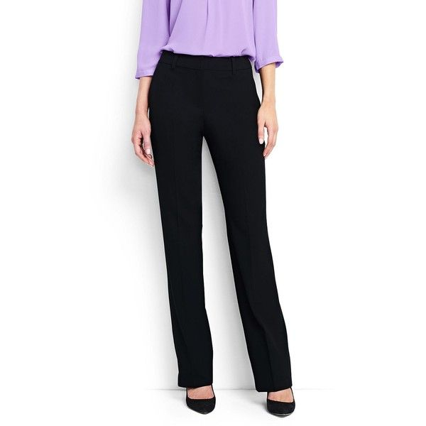 Lands' End Women's Petite Wear to Work Wide Leg Pants ($89) ❤ liked on Polyvore featuring pants, black, petite wide leg trousers, petite trousers, lands' end, petite pants and wide leg trousers