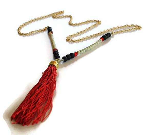 Red tassel necklace , long red rosary necklace , black and white beaded necklace , gold red necklace , boho necklace , Greek jewelry