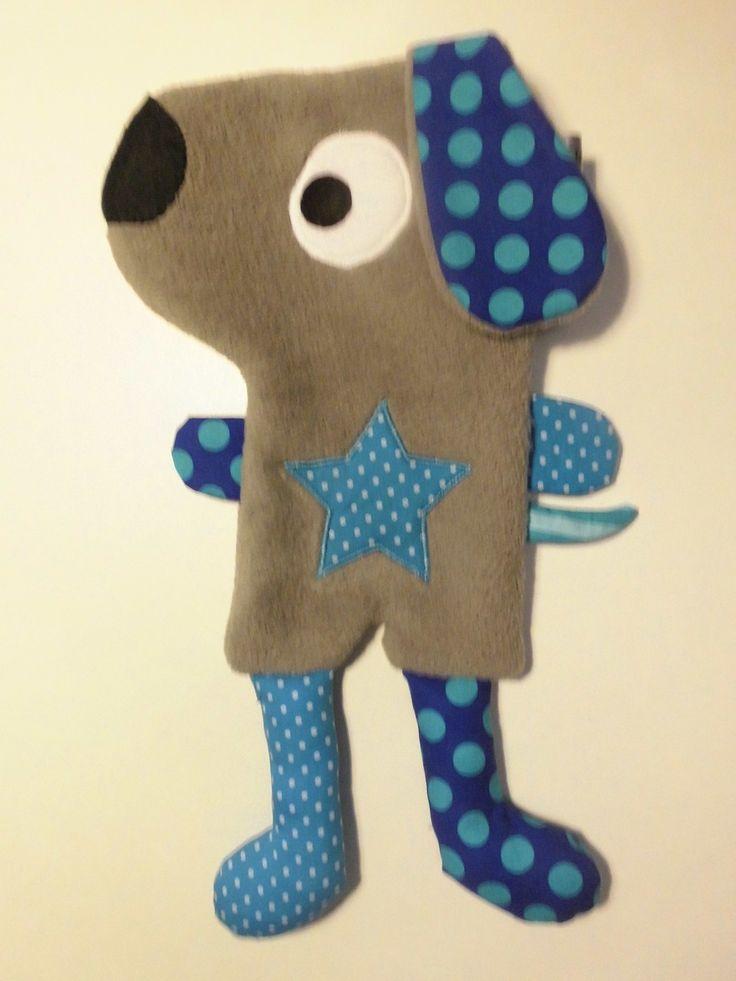 Doudou plat chien taupe et bleu : Jeux, peluches, doudous par melomelie