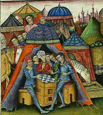 Roman du chevalier Cifar. fè Spain, 14th century. Miniature by Juan de Carrion. Bibliotheque National de France, Paris, Manuscript Esp. 36 folio 19.