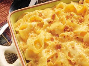 Five Cheese Noodle Casserole  Move over mac and cheese. Kids and adults alike will love this creamy dish that uses cheddar cheese soup, cream cheese, shredded cheddar, cottage cheese, Parmesan cheese and Inn Maid Extra Wide Egg Noodles.  From Marzetti Kitchens℠.