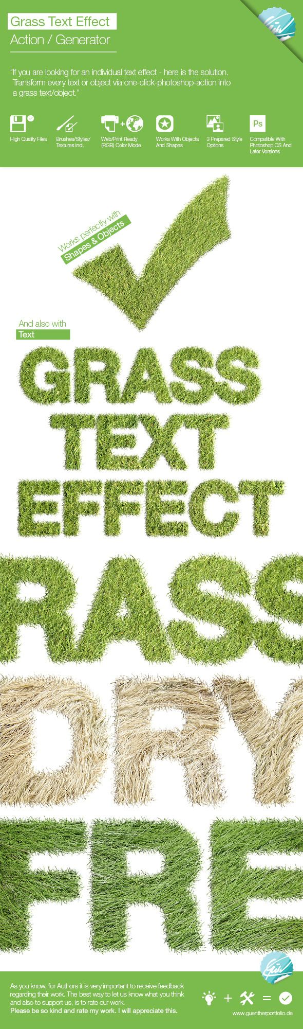 Realistic Grass Effect / Generator. Add-ons Photoshop Actions. To help find this action, app, brush, dry, dry grass, font, generator, grass, green, high resolution, iphone, object, one click, photorealistic, print, realistic, sand, shape, style, text, texture, and web.