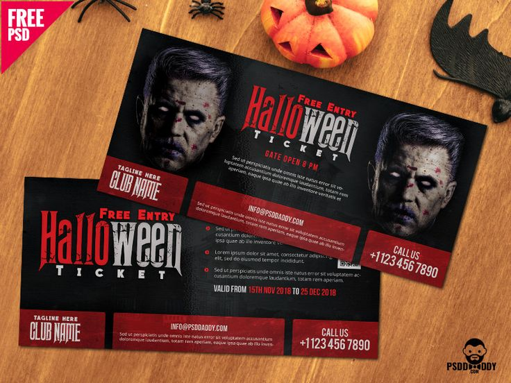 Halloween Free Entry Ticket PSD Template by Free Download PSD